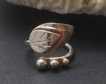 Mixed Metal Statement Ring, Entwined Series, Copper and Sterling Silver Metalsmith Ring, Handcrafted Bypass Ring, Leaf Wrap Ring, Bohemian