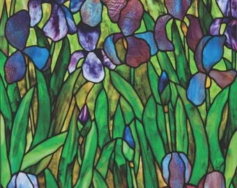 Irises at Slade, stained glass pattern.© David Kennedy Designs.