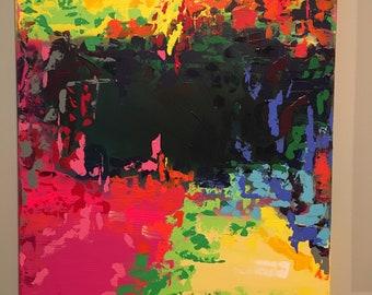 Painting, Acrylic, Abstract, Original, Art, Modern, Pink, Blue, Yellow, Green, Black, Rainbow