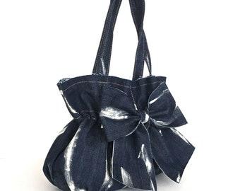 Jean bow purse,Recycled bag,dark blue denim bag,Up cycled casual bag , Girls bag, Girl's jean bag, Vegan day handbag, Recycled bow bag