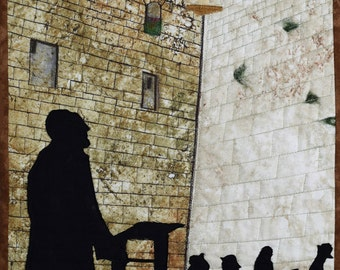 Quilted Landscape Scenes of Israel: Praying at the Western Wall
