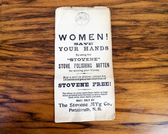 Antique 1890s Womens Stovene Stove Cleaner Advertising Brown Paper Bags, Women Save Your Hands, Unique Packaging for Wrapping Christmas Gift