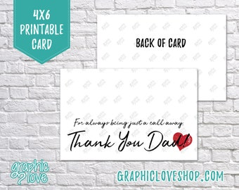 Printable 4x6 Father's Day Card from Daughter - Folded & Postcard | Digital JPG Files, Instant Download, NOT Editable, Ready to Print