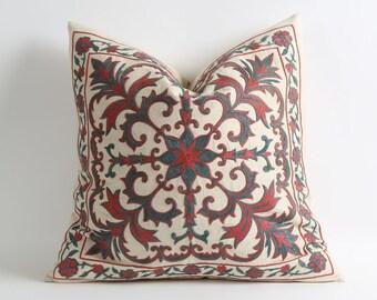 suzani, uzbek suzani, vintage, vintage suzani, uzbek, suzani throw, embroidery, handmade, uzbek embroidery, suzani pillow, silk suzani, gray