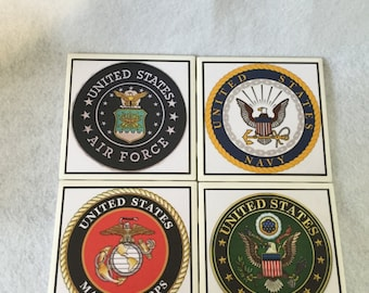 Military Emblem, Ceramic Tile Coaster Set, Army-Navy-Air Force-Marines set of 4