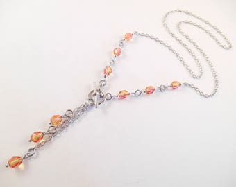 """Czech Beaded Necklace - Pink & Orange Fire Polished Czech Beaded """"Y"""" Style Toggle Necklace"""