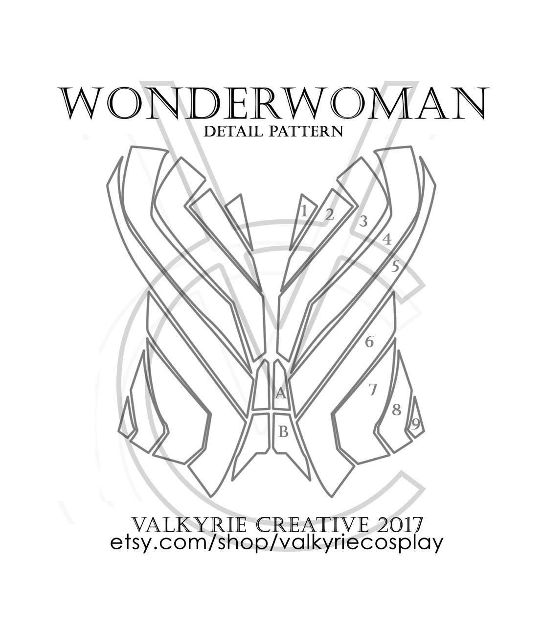 Wonderwoman Corset Detail Printable Pattern