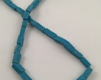 Beads, Turquoise Beads, Blue Beads, 8mm Blue Beads, Blue Rectangle Beads,  Rectangular Turquoise Beads