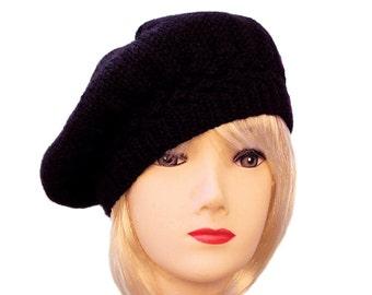 Black Beret Black Knit Hat, Womens Slouchy Beret, Black Beret Hat, Womens Wool Hats, Gifts for Her, Winter Hats, Black Accessories, Sue Maun