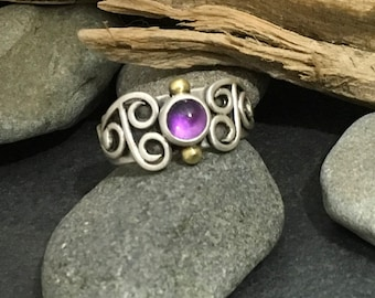 Imperfect slightly asymmetrical amethyst ring with solid sterling silver flowing swirls, lilac purple stone, fits like a size 7 and 1/4