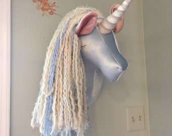 Ice blue unicorn head faux taxidermy unicorn