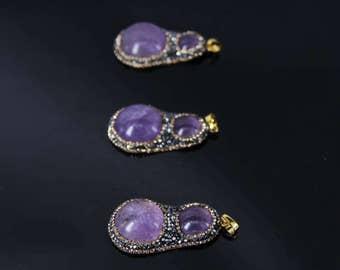 3pcs/lot Natural Amethyst druzy slab nugget Foil Pendants,Plated Rhinestone Edge Pruple crystal Quartz Pendant Necklace Jewelry