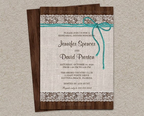 Burlap Wedding Invitations Diy: Items Similar To Rustic Rehearsal Dinner Invitation With