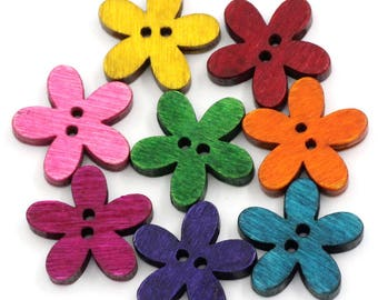 5 - multicolored flowers - 2 holes - 20 mm wooden buttons