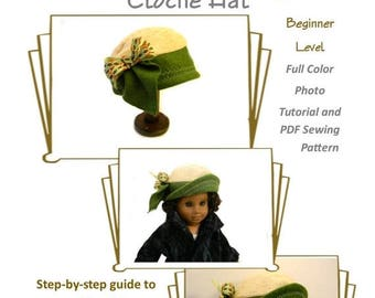 """50% OFF SALE Cloche Hat PDF Sewing Pattern - Fits 18"""" Dolls, Ag Doll, American Girl Doll, Doll Clothes Sewing Pattern, 1920s, Roaring Twenti"""