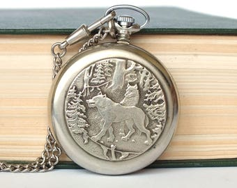 Vintage Pocket Watch. Open Face Hunters Pocket Watch MOLNIJA. Mens Pocket Watch Wolfs. Vintage Watch, German Silver Case, Chain. Gift him