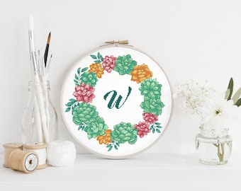 Letter W cross stitch pattern Initial Monogram W Succulent wreath Name Floral Nursery Baby Girl Women Boho Tribal Instant download PDF #607