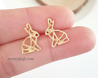 Rabbit Earrings - Rabbit Jewelry - Studs Earrings - Silver Earrings - Gold Earrings - Bunny - Christmas Gift - Best Friend Gift - Origami