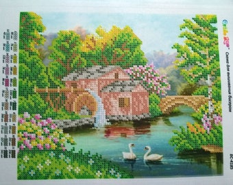 Landscape Nature Swans River House Bead Embroidery kit DIY Beadwork Set for embroidery Beaded Embroidery beads and canvas Beadart Wall decor