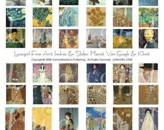 PENDENTIFS ART numérique collage de diapositives de breloques feuille, Klimt, Monet Van Gogh, Inchies, peintures vintages images femmes fleurs, éphémères téléchargement