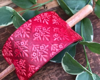 Hand Tooled Leather Hair Barrette, Hair Stick Barrette, Red Leather Floral Hair Slide