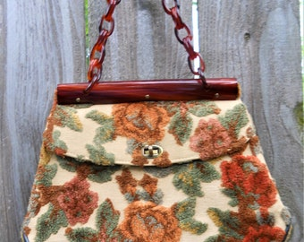 Vintage Purse Tapestry Top Handle Lucite Chain Handle 1960s
