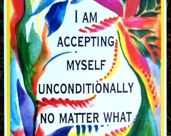 I Am ACCEPTING MYSELF Affirmation Inspirational Poster Motivation Self Esteem Eating Disorder Recovery Heartful Art by Raphaella Vaisseau