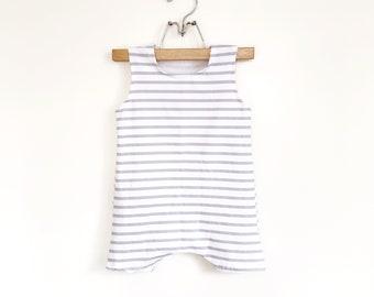 Grey Short Stripe Romper | summer romper, harem romper, baby onesie, solid romper