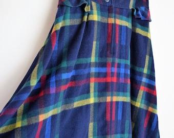 salvation armani vintage skirt - plaid vintage skirt - blue plaid wool skirt - vintage wool skirt - vintage size 13