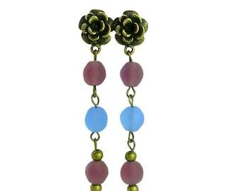 Purple Blue Glass Beads Earrings, Bronze Rose Boho Earrings, Long Beaded Earrings, Chain Beads Earrings, Bronze Flower Post Earrings
