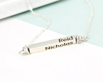 Personalized bar necklace - Personalized horizontal swivel bar necklace - mother necklace - swivel four sided bar - silver personalized bar