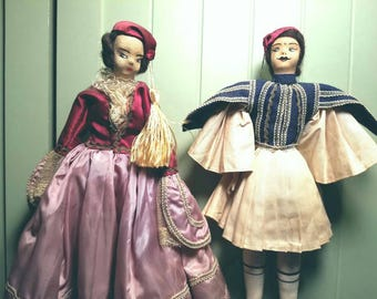 Vintage Pair Greek Native Costume Dolls Man Woman 1940's Sawdust Filled Fabric Hand Sewn Clothing Lace Painted Face Hair Hat Tassel Greece