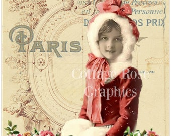 Vintage photo Winter in Paris girl pink roses Christmas digital collage ECS buy 3 get one free SVFteam