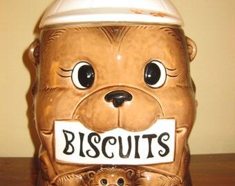 Vintage Bear with Baby Bear Biscuit or Cookie Jar