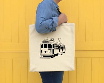 Melbourne Tram illustrated screen printed tote bag, Tram Print, Melbourne Gift