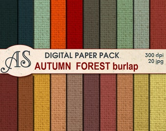 Digital Autumn Forest Color Burlap Paper Pack, 20 printable Digital Scrapbooking papers, Fabric Digital Collage, Instant Download, set 201