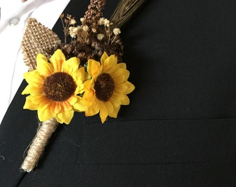 Rustic Sunflower Boutonnière * Summer - Fall Wedding Boutonniere or Corsage for Outdoor - Indoor - Country - Farm - Natural