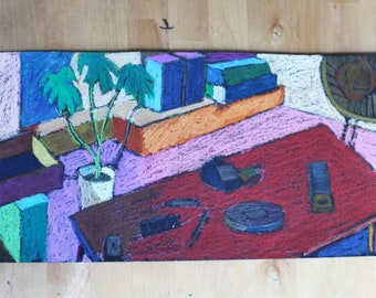 still life oil pastel painting, original art, still life painting, colorful wall decor