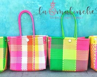 Handmade plastic bag, oaxacan bag, mexican tote, beach bag, summer bag, Mexican bag, tote bag, market bag, summer tote, handmade bag