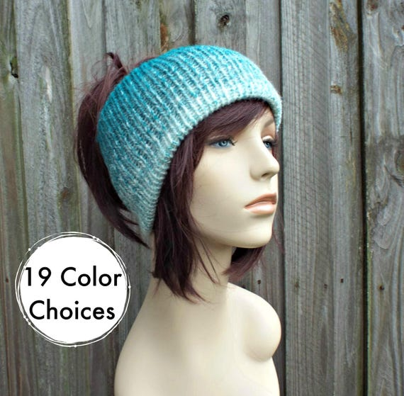 Cream and Teal Double Knit Tube Hat For Dreads - Messy Bun Hat Dread Beanie Dreadlock Headband Head Wrap Head Sock - 19 Color Choices