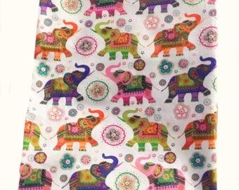 Baby Girls Elephant Blanket, Boho Swaddle blankets, Beautiful Receiving Blanket, Buhdist Baby Blanket, Cotton Flannel, newborn baby gifts