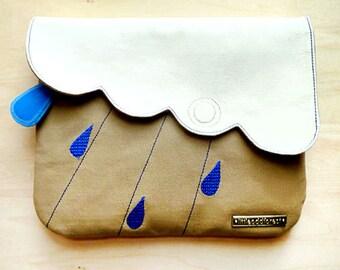 Vegan Clutch Purse Zip Pocket Kawaii Purse Ladies Clutch Women Fabric Purse Cloud Theme Gifts Padded Purse Raindrops Rain Cloudy Days BEIGE