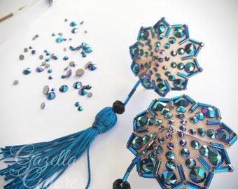 Small Blue Rhinestoned Burlesque Pasties
