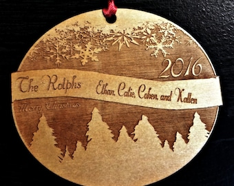 Personalized Wooden Engraved Winter Wonderland Christmas Ornament - 2017