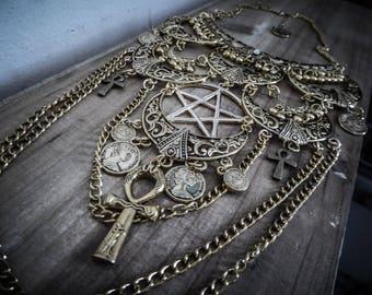 Bronze gold maxi statement Moon necklace goth ankh Egyptian Queen 666 666 pentagram