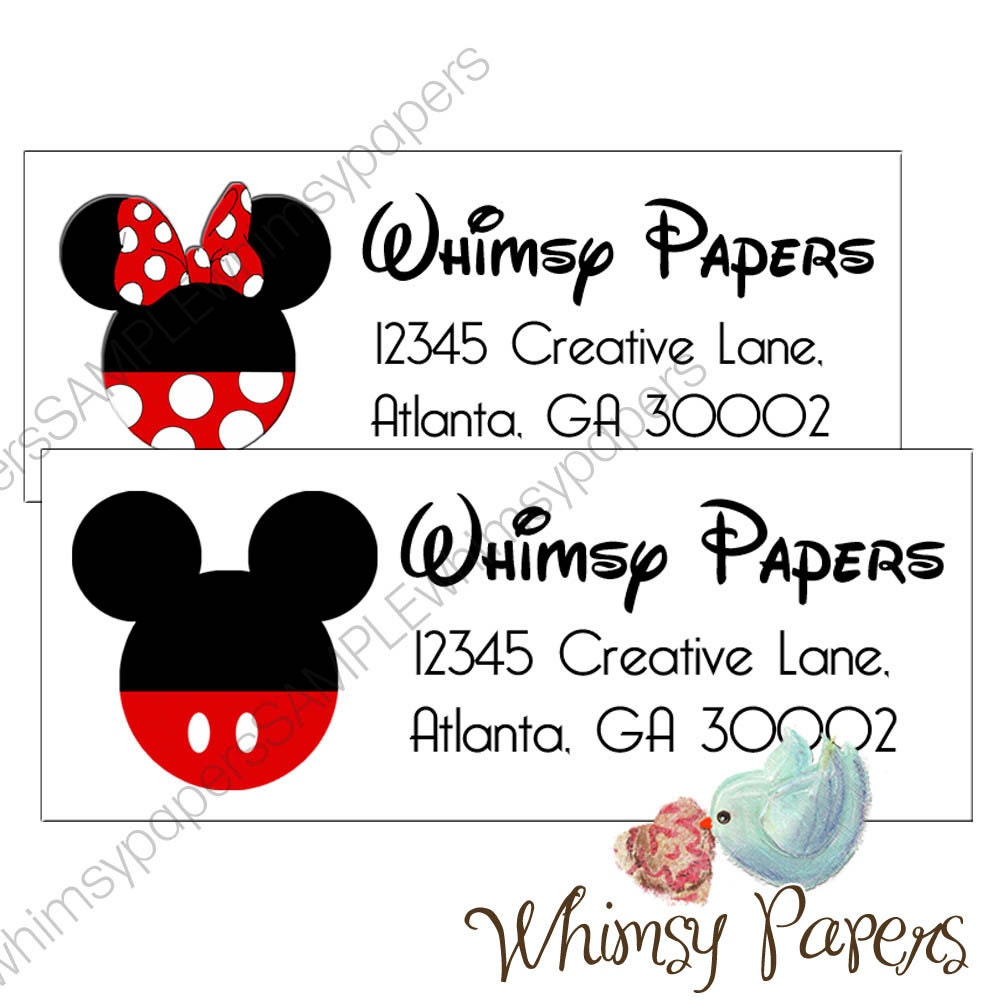 mickey mouse or minnie mouse return address labels glossy