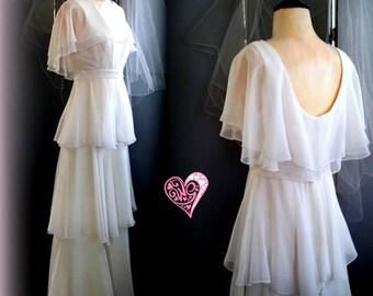 60s White Chiffon Bridal Dress - Elegant Peplum Styling - Metal Zip -  Vintage Wedding Dress - Gorgeous - Size XS