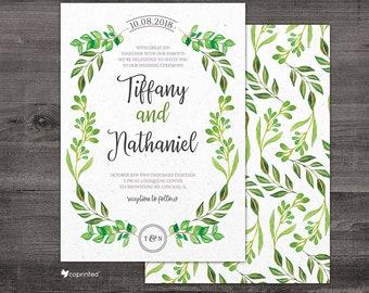 Watercolor Wedding Invitation, Greenery Wedding Invitation, Nature Wedding, Leaves Wedding Card, Painting Wedding Invitation, Wedding Suite