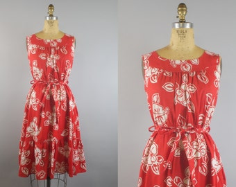 Hibiscus Dress / Red Floral Dress / 70s Dress