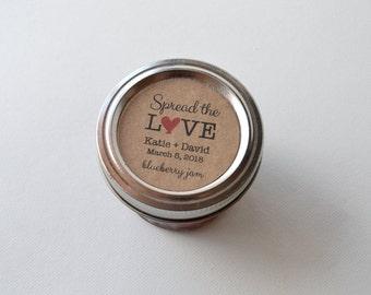 "20 Kraft 2"" Round Sticker Label Tags - Custom Wedding Favor & Gift Tags - Spread the Love Jam Flavor Kraft"